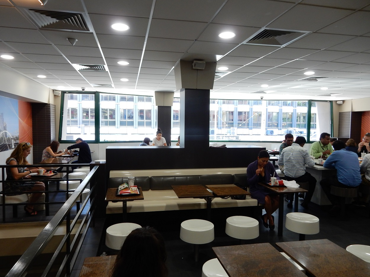 McDonalds is good option for working with its free wifi, large interior and easy access to food and drink