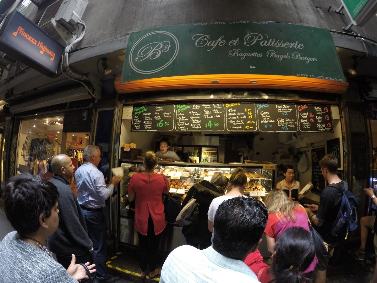 B3 Cafe et Patisserie serving Baguettes, Bagels and Burgers.
