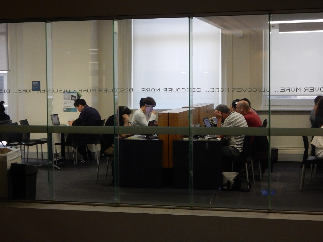 The library offers a quiet study room with lots of power outlets and is great place to get work done