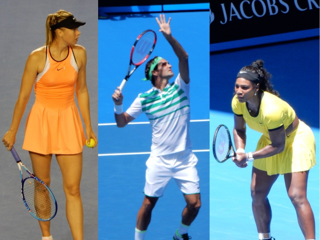Sharapova, Serena and Federer playing their second round matches in Rod Laver