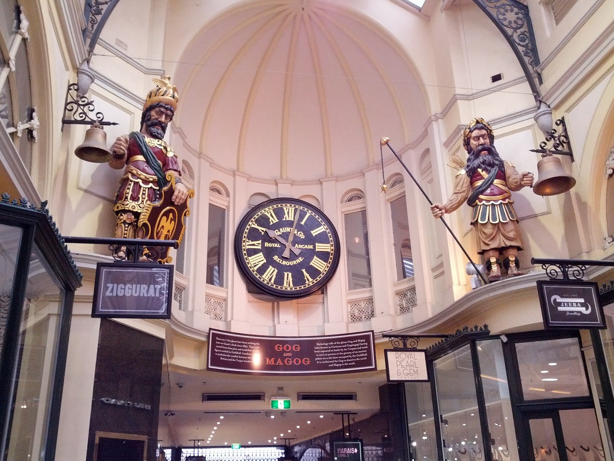 Famous statues of Gog and Magog in The Royal Arcade