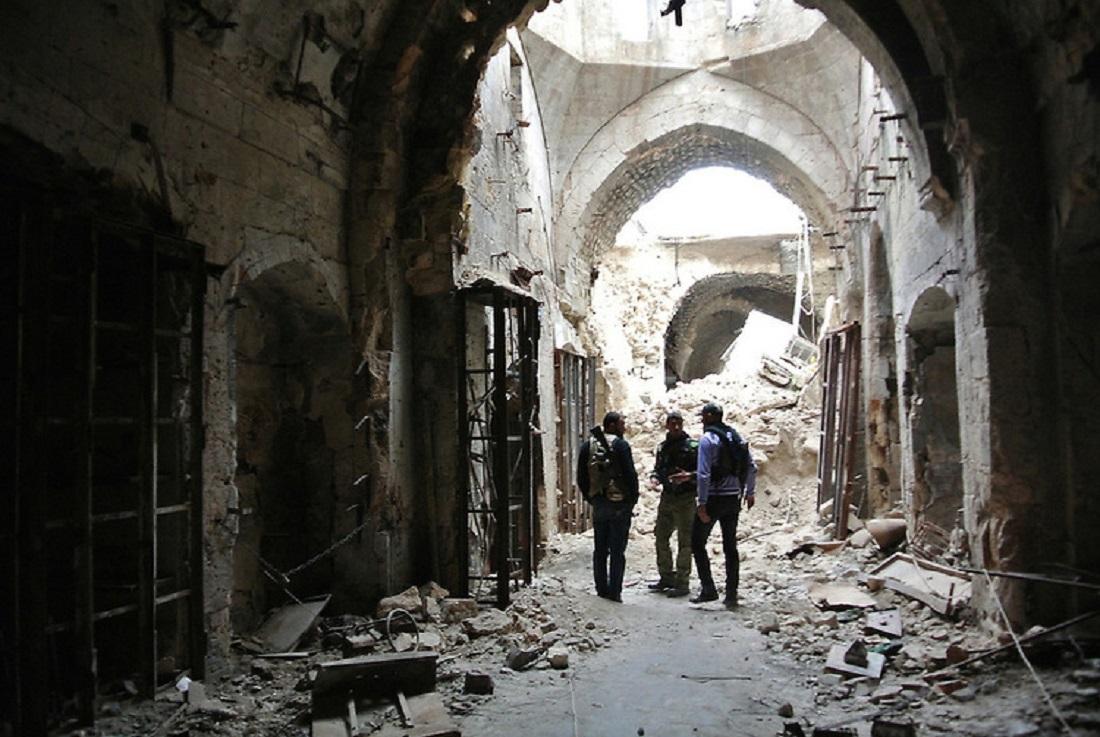 Free Syrian Army patrol in the Al Madina Souq