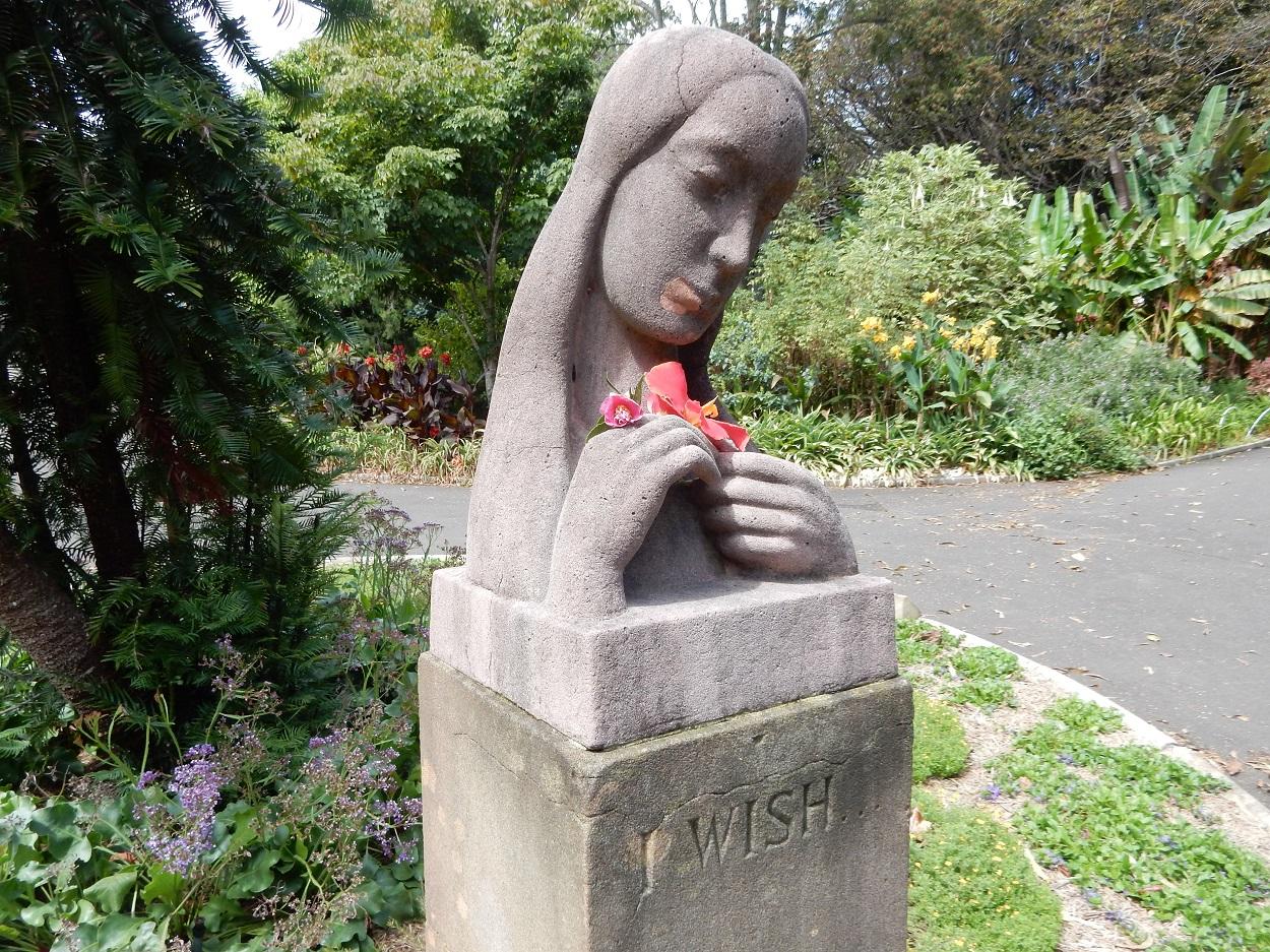 "Walking through the garden came across the ""I Wish"" statue"