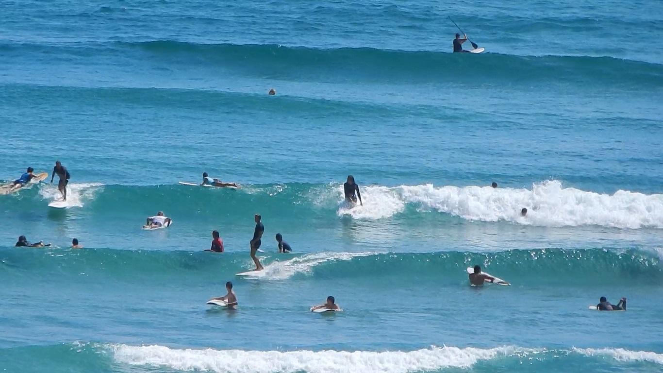 Surfers on Watego Beach.