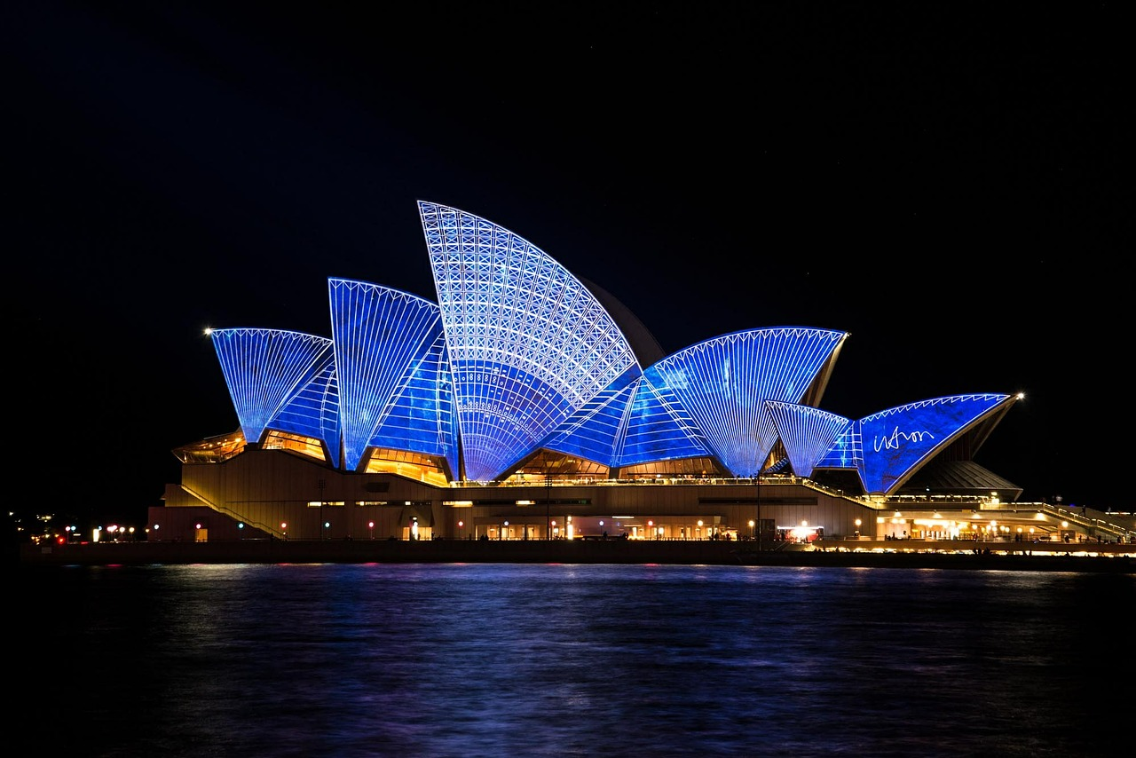 Opera House lit up during Vivid Festival