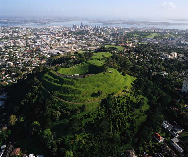Mount Eden is one of the most prominent volcano cones in Auckland