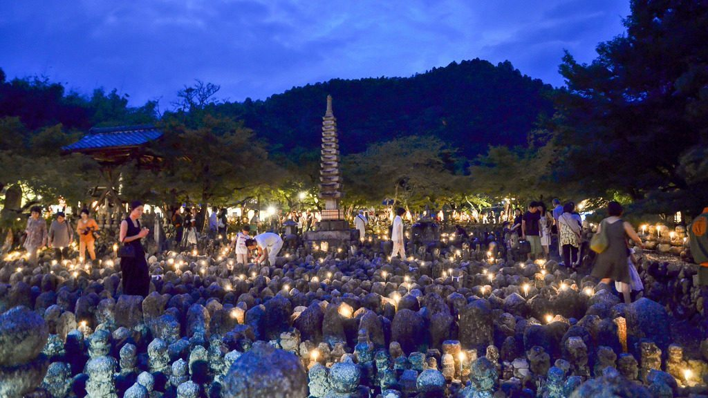 A graveyard with over 8000 Buddhist statues to symbolize the souls of the dead photo credit: Adashino Nenbutsu-ji Sento Kuyo Festival 2013 化野念仏寺の千灯供養 via photopin (license)