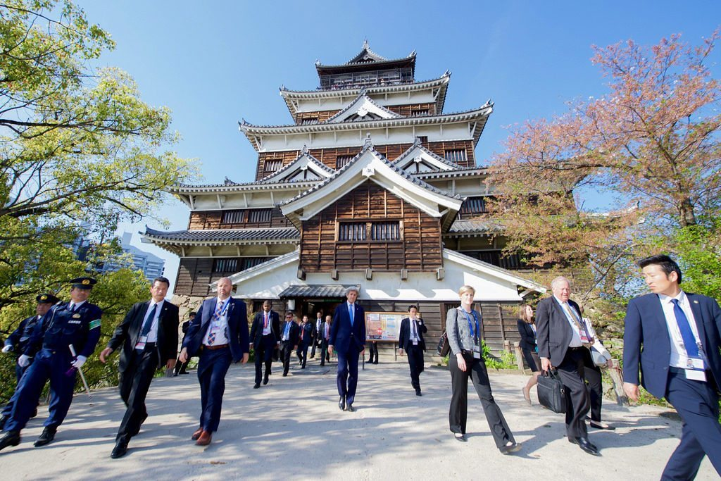 photo credit: Secretary Kerry Leaves the Hiroshima Castle After Taking an Impromptu Walk to the Site via photopin (license)