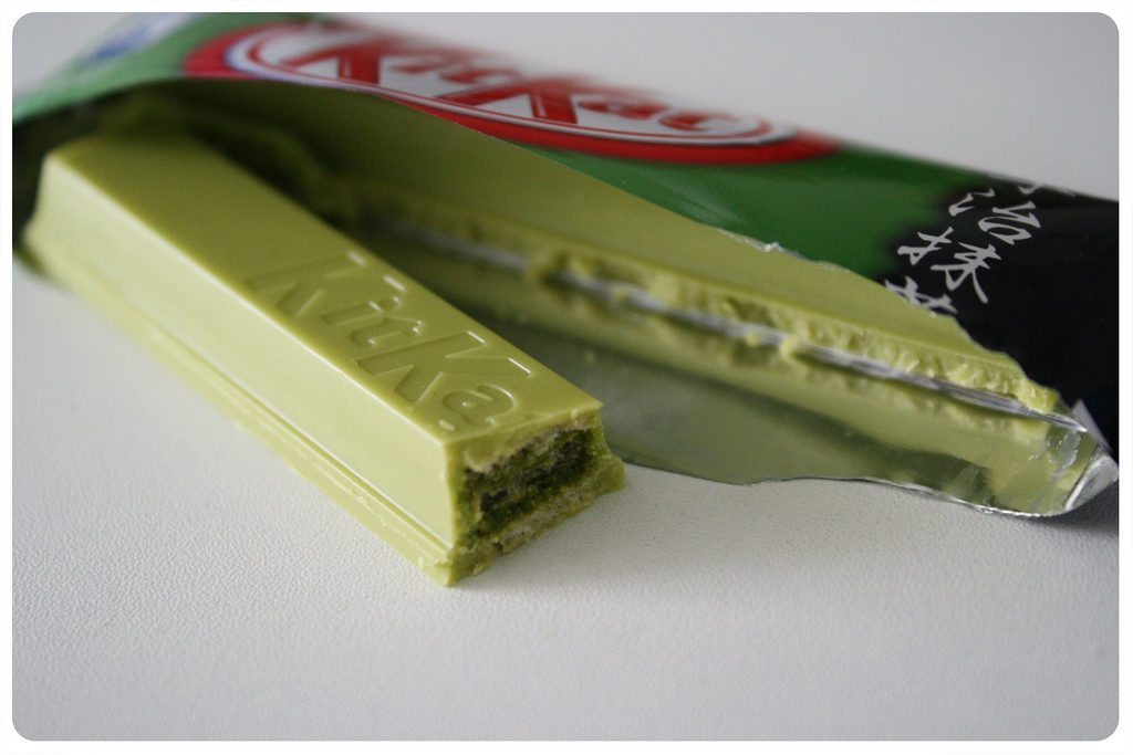 My two favorite flavors of Kitkat were Wasabi and Green Tea. photo credit: Green tea KitKat via photopin (license)