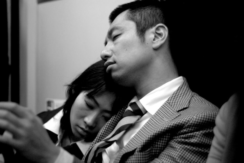 The Japanese are sleep deprived and grab a quick nap where ever they can. Its not uncommon for the person sitting next to you to use your shoulder as a pillow. photo credit: While they were sleeping... via photopin (license)