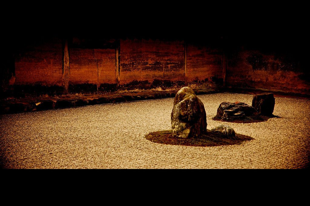 Nobody knows who designed or the meaning of the 15 rocks in Ryoan-ji's rock garden. photo credit: Zen Gardens. via photopin (license)