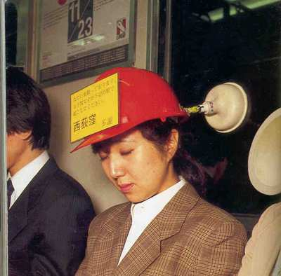 "This is a ""Public Transport Helmet"". The message reads: Wake me up at station ""…"" – Thanks!"