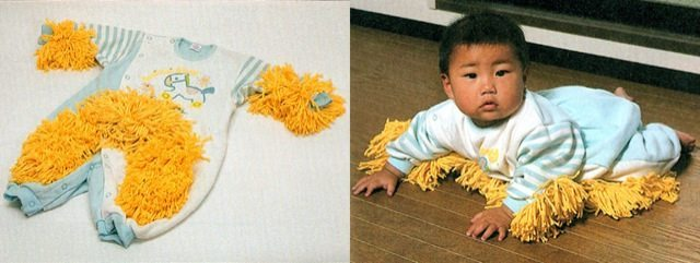 I starting with my favorite. This is a baby mop. This onesie comes with a mop. Your baby is crawling anyway, why not clean have them be useful and clean the floor.