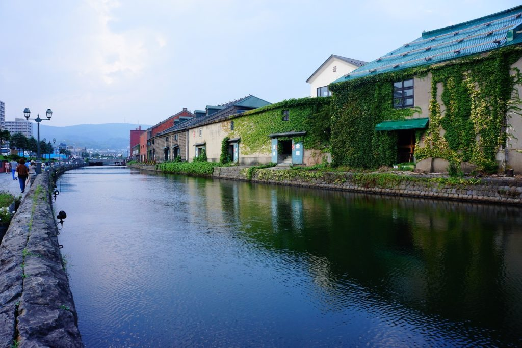 The coastal village of Otaru gorgeous stone building lining the canal