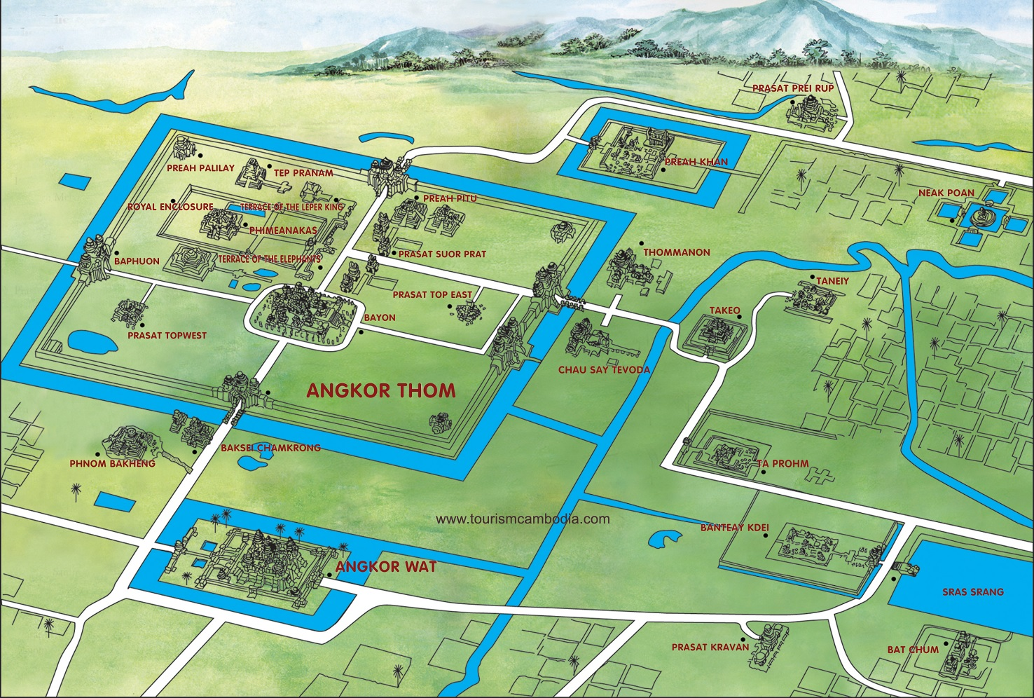 Map For The Angkor Temples
