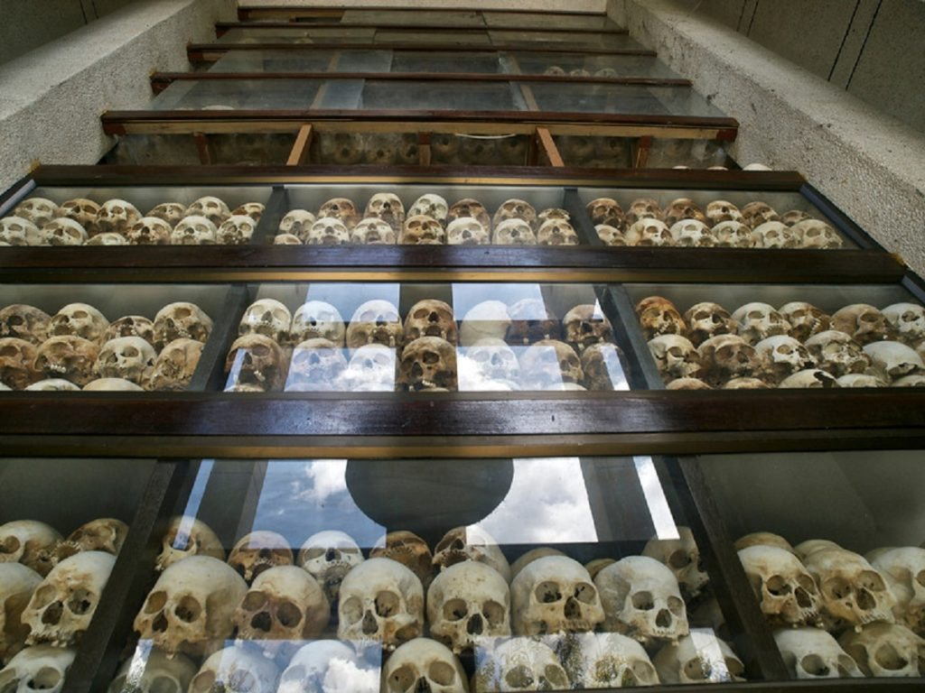The Killing Fields has a stupa filled with remains of Khmer Rouge victims