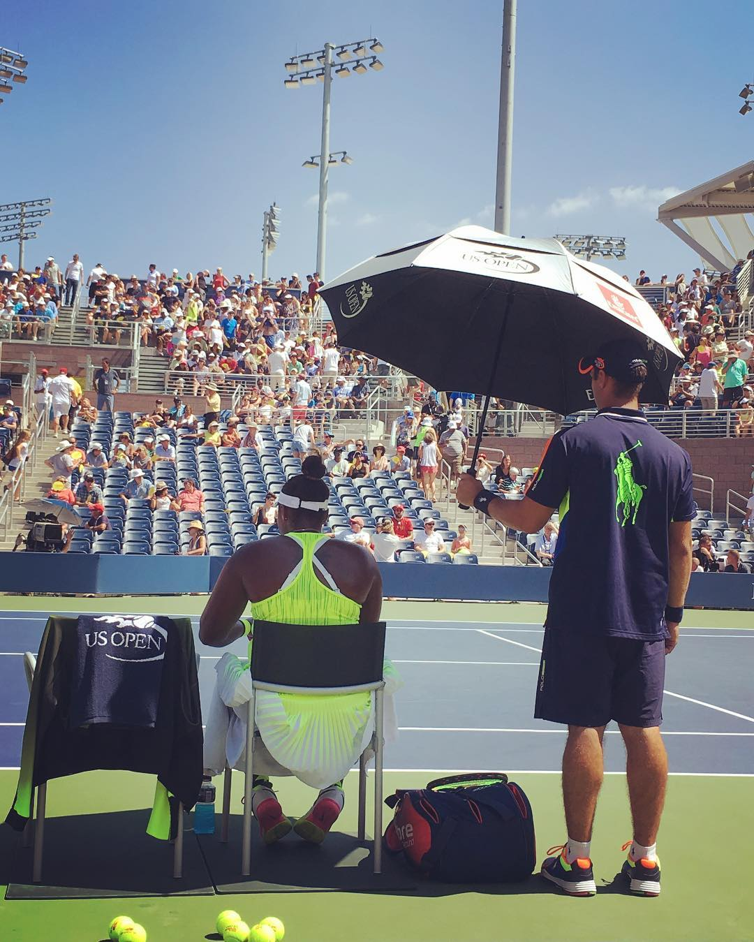 The heat at the US Open was no joke. Players between games would need to be iced down and sit in the shade.